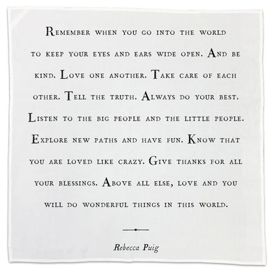 Tea Towel with Quote - Rebecca Puig quote
