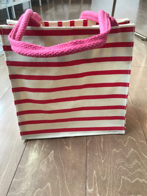 Red Striped Canvas Bag