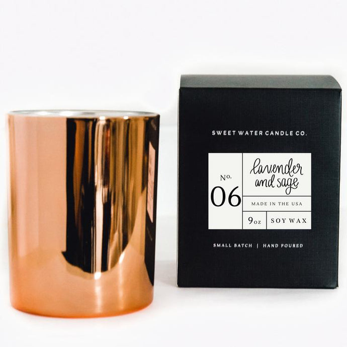 Lavender and Sage Soy Candle -9oz (Rose Gold Container