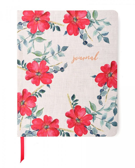 Watercolor Red Floral Journal