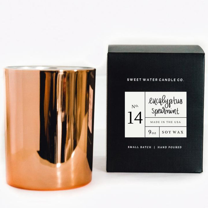 Eucalyptus and Spearmint candle (9oz)- Rose Gold Container