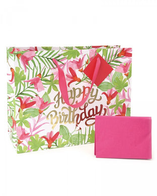 Pink Palm Tree Floral Gift Bag