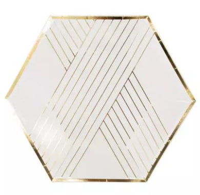 White and Gold Striped Small Plates