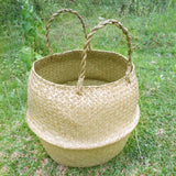 Natural Seagrass Woven Storage Basket with Handles (Foldable)
