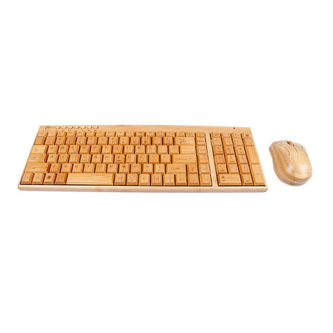 Handcrafted Bamboo Wireless Keyboard with Mouse