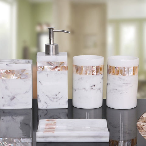 Modern bathroom set made of natural shell