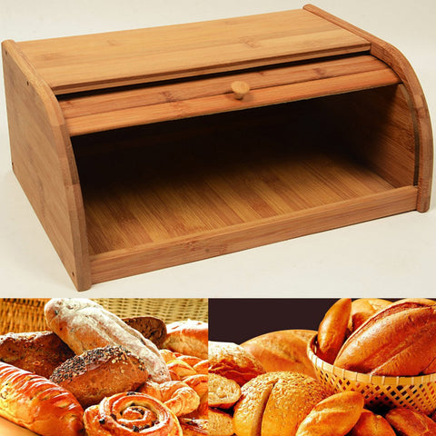 Bamboo Bread Bin with Roll Top