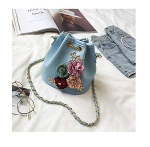 New fashion Shoulder Bag Sweet lady flower handbags with bucket bag Free shipping.