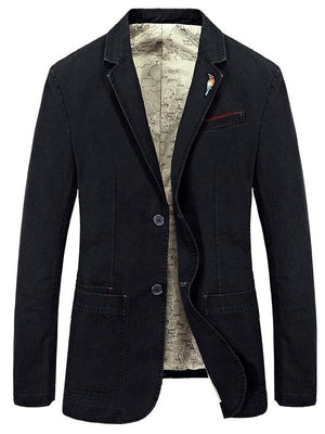 Paneled Leisure Solid Blazer Jacket