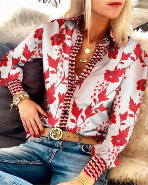 Leaf Print Button Up Long Sleeve Shirt