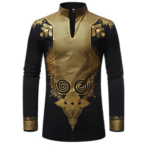 Men's Printed Shirt Court Long-style Stand V Collar ZT-FZ38