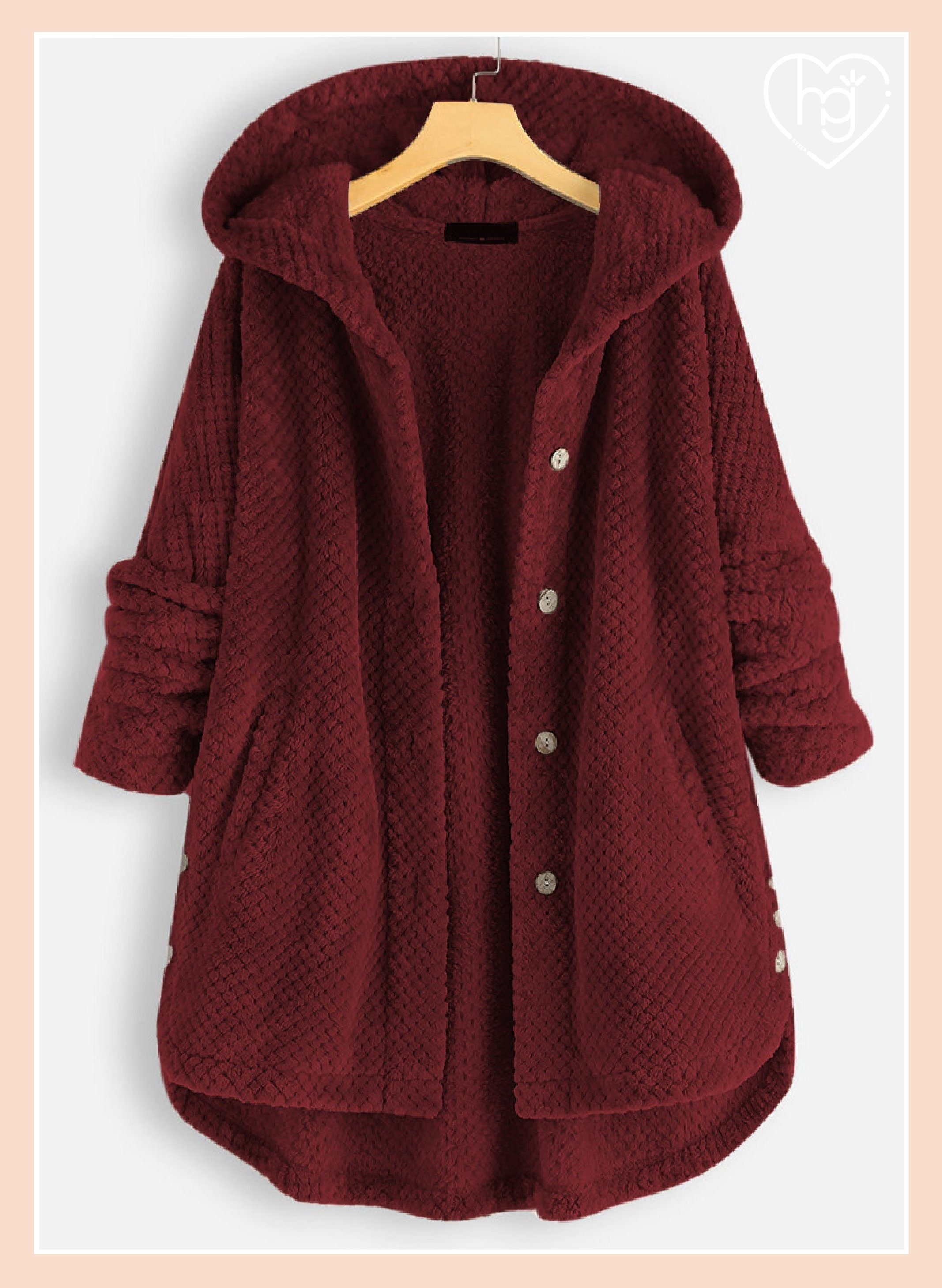 Comfy-Fit Soft Brushed Double Fleece Hooded Coat