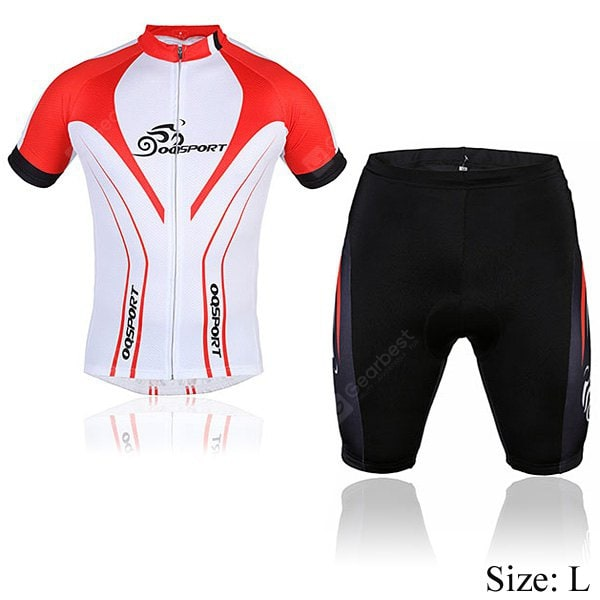 OQsport Men Bicycle Cycling Jerseys Cycling Shorts Cycling Colthing Set  -  White and Red