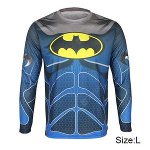Bluesea Breathable Men Cycling Jersey Long Sleeve T - shirt Batman Style Thermal Transfer Sports Running Clothes