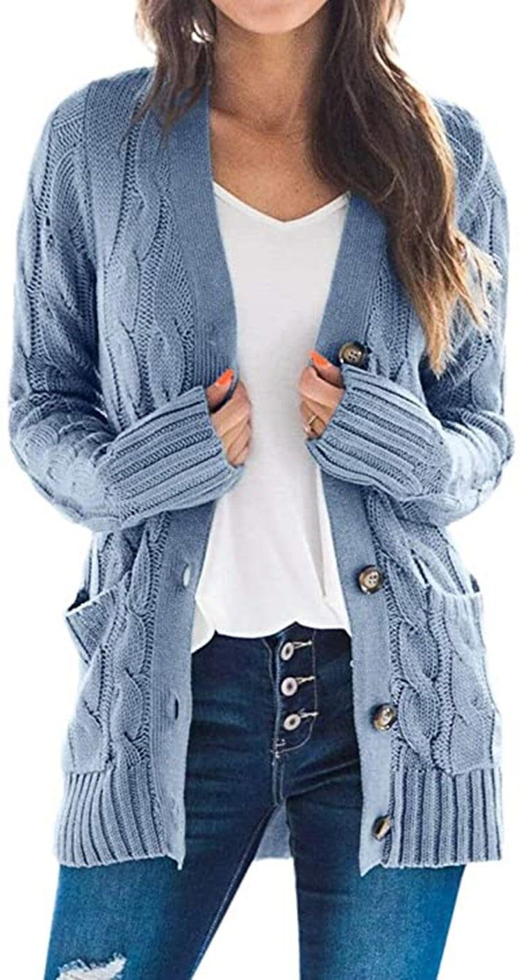 Women's Open Front Long Sleeve Cardigan Sweater Cable Knit Pocket Outwear
