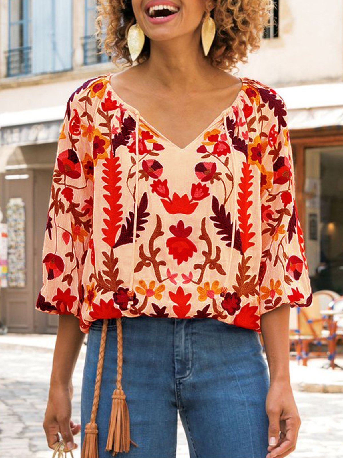 APRICOT 3/4 SLEEVE PATCHWORK V NECK SHIRTS & TOPS