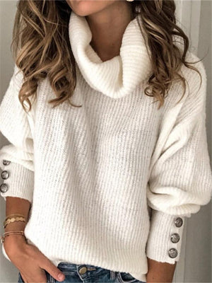 Fashion long sleeve solid color casual sweater