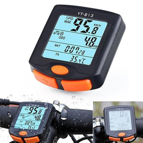 BoGeer YT - 813 Wireless Bike Computer Waterproof Bicycle Speedometer Large LCD Screen Display