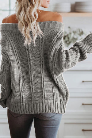 Knit Dew Shoulder Coffee Sweater(2 Colors)