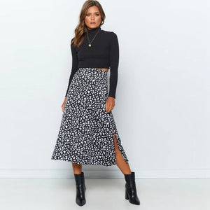 2020 New  Leopard Print Chiffon Split Skirt Casual Fashion Long Skirts for Women Spring Summer Zip Elegant Female Skirt