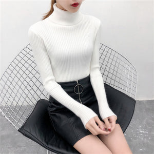 2020 Women Slim Sweaters casual solid turtleneck female pullover full sleeve warm soft spring autumn winter knitted cotton