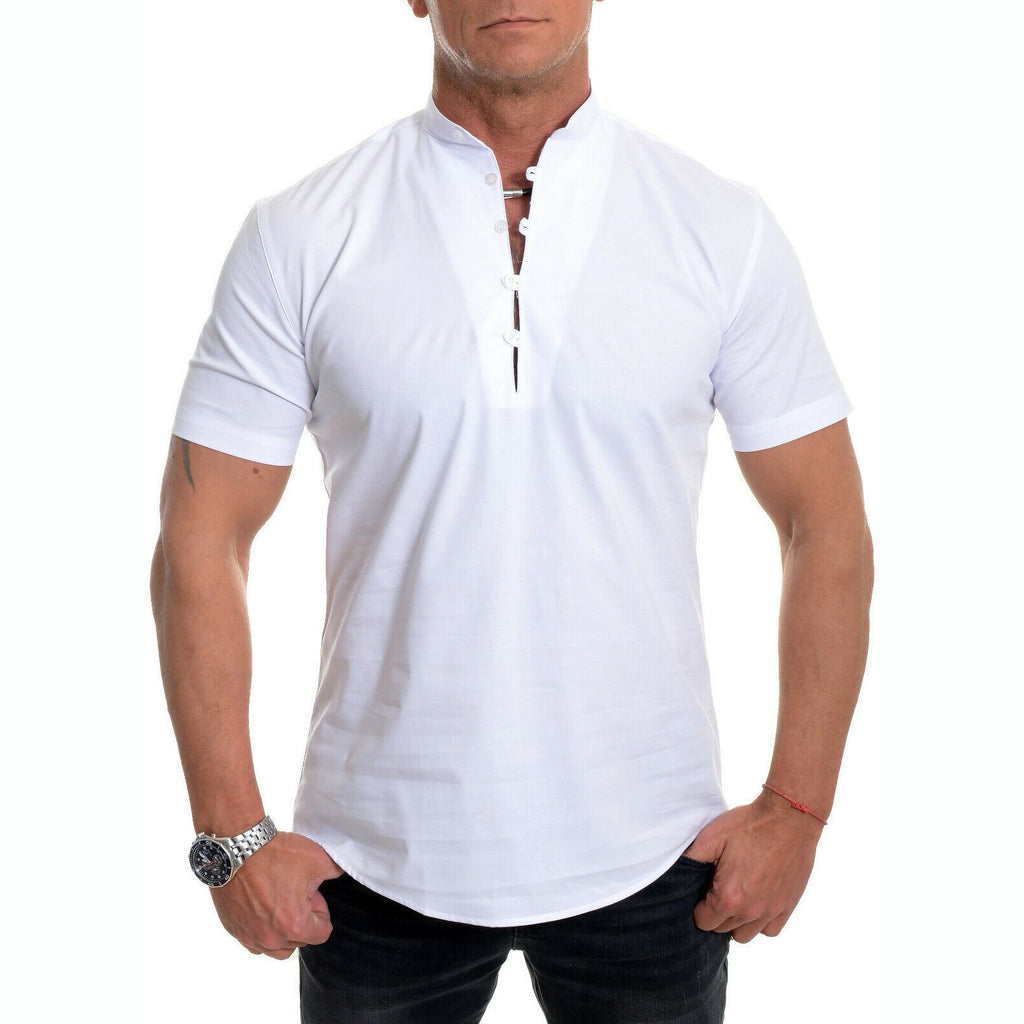 Men's Stand Collar Plain Button Summer Loose Shirt