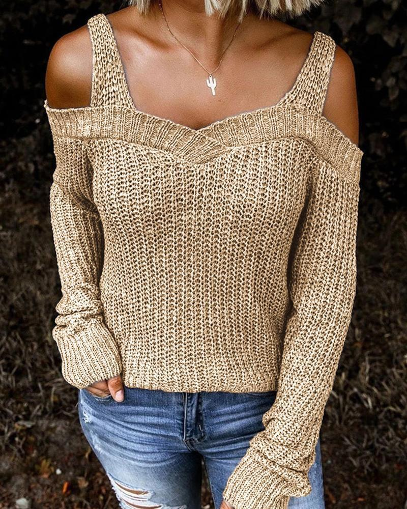 Solid Long Sleeve Cut-Out Sweater