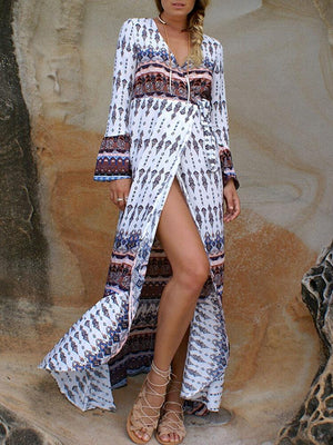 Bell Sleeve V Neck Mermaid Printed Maxi Dress