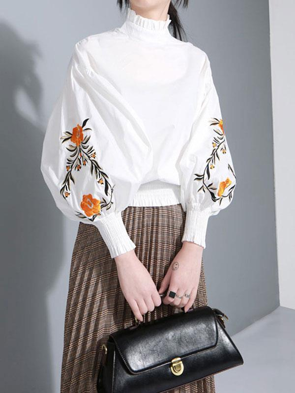 Casual Puff Sleeves Embroidered Women's Blouses