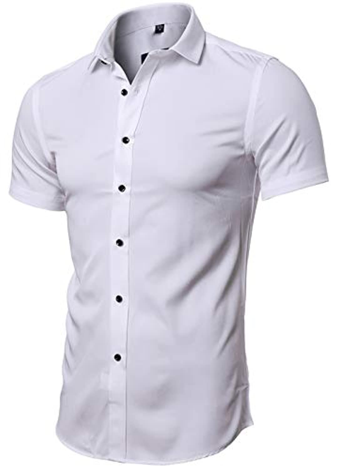 Mens Dress Shirts, Fitted Bamboo Fiber Short Sleeve Elastic Casual Button Down Shirts