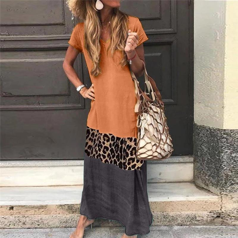 V Neck Short Sleeve Ankle-Length Leopard Print Color Matching Casual Dress