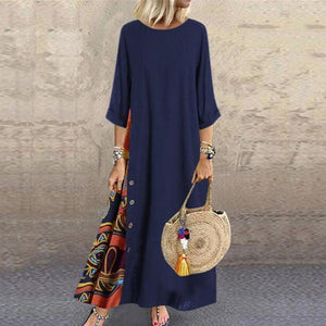 Casual Round Neck Button Bracelet Sleeve Splicing Dress