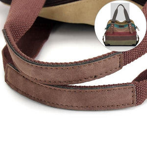 Retro Ethnic Style Stripe Canvas Contrast Color Multi-pocket Handbag Crossbody Bag