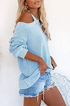Womens Long Sleeve Cold Shoulder Halter Neck Cable Knitted Sweater Tops Sexy Pullover Loose Jumper Sweaters