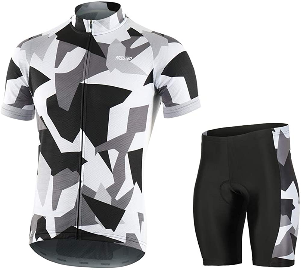 Men's Cycling Jerseys MTB Bike Sets with Shirt and Bicycle Padded Shorts Z10