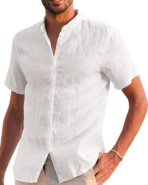 Mens Long Sleeve Shirts Linen Cotton Button Up Loose Summer Beach Yoga Shirt