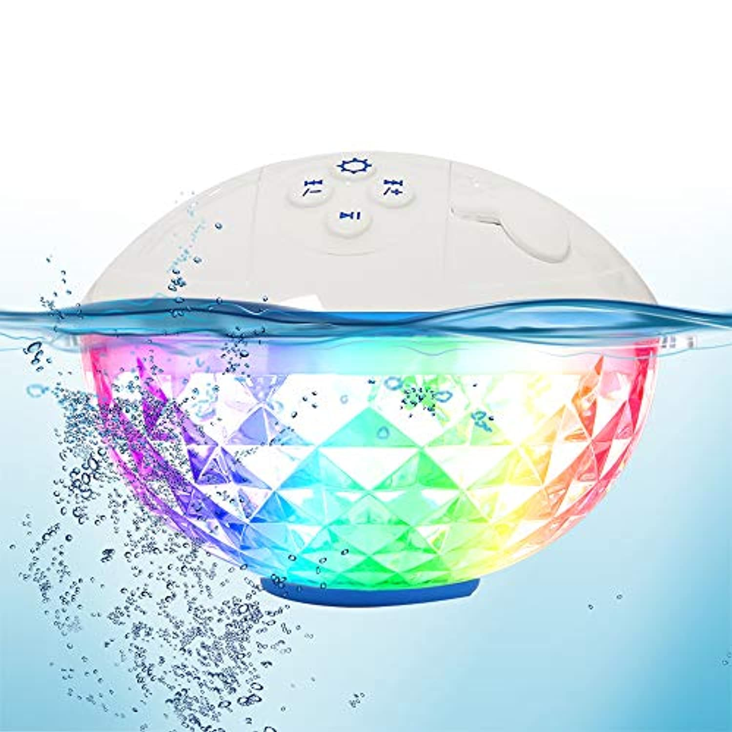 Bluetooth Speakers with Colorful Lights, Portable Speaker IPX7 Waterproof Floatable, Built-in Mic,Crystal Clear Stereo Sound Speakers Bluetooth Wireless 50ft Range for Home Shower Outdoors Pool Travel