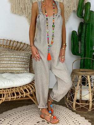 Loose Knot Backless Sling V-neck Jumpsuit