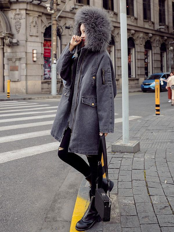 Denim Padded Coat
