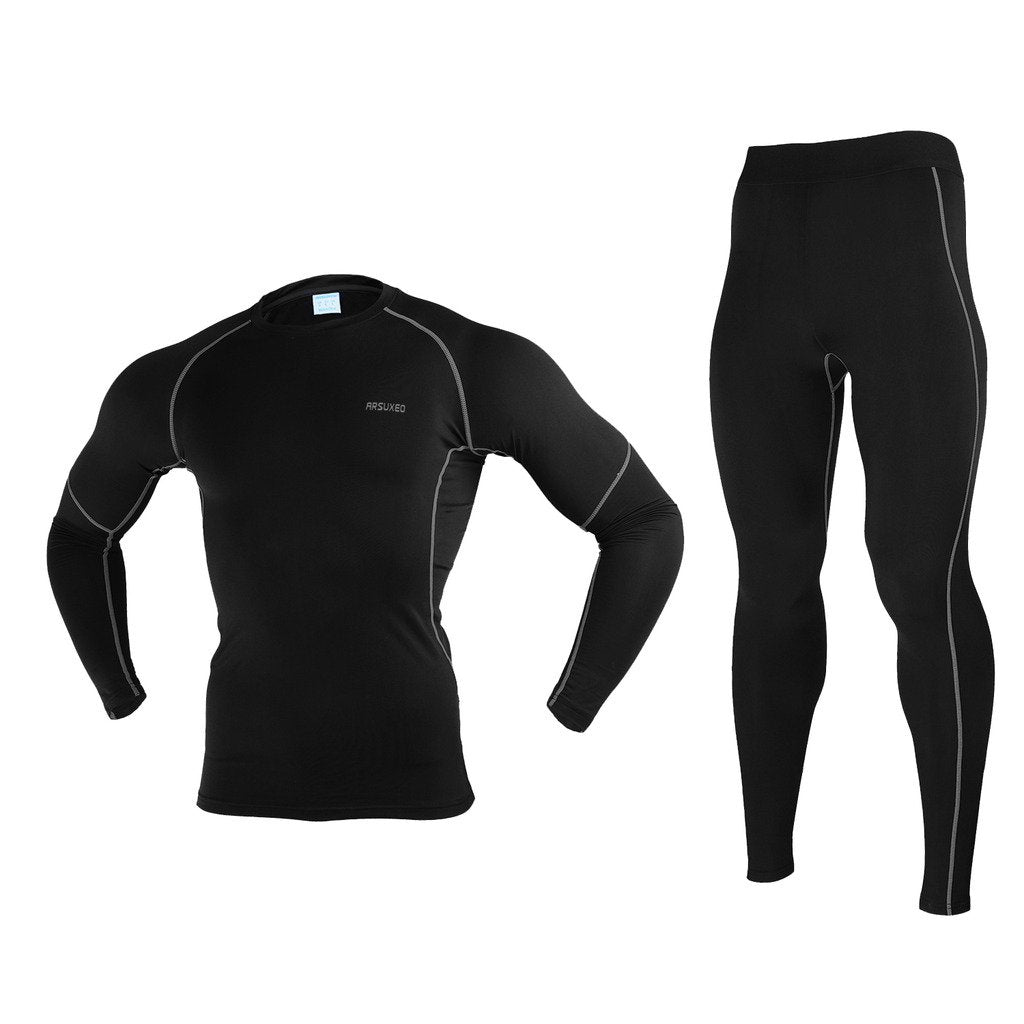 Bluesea Winter Warm Up Fleece Compression Base Layers Suits with Shirts and Pants