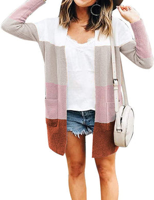 Long Sleeve Open Front Knit Cardigan Casual Pullover Sweater