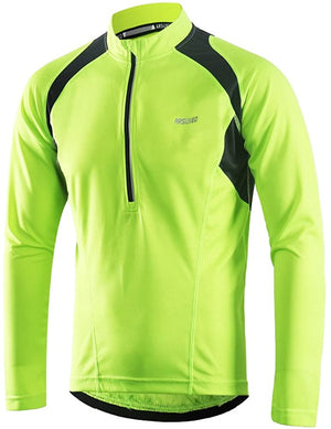 ARSUXEO Men's Half Zipper Cycling Jerseys Long Sleeves MTB Bike Shirts 6031