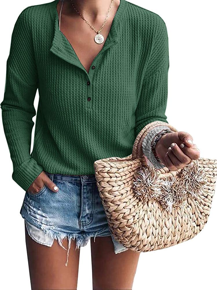 Womens Shirts V Neck Long Sleeve Button Down Tops Warm Waffle Knit Tees