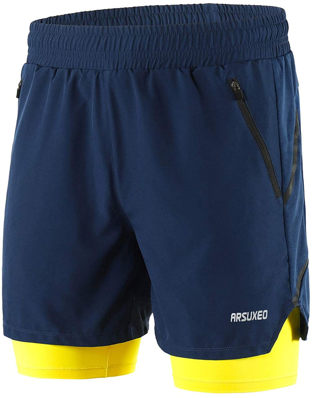 Men's 2 in 1 Active Running Shorts with 2 Zipper Pockets