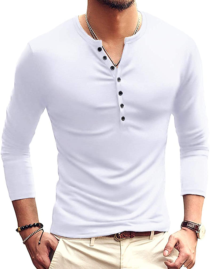 Mens Casual Slim Fit Basic Henley Short/Long Sleeve Fashion T-Shirt