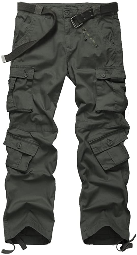 Men's Casual Military Pants, Cotton Camo Tactical Wild Combat Cargo ACU Rip Stop Trousers with 8 Pockets