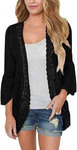 Women's Summer Kimono Cardigans Ruffle Bell Sleeve Sweaters Lace Cover Up Loose Blouse Tops