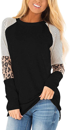 Women's Leopard Print Color Block Tunic Round Neck Long Sleeve Shirts Striped Causal Blouses Tops
