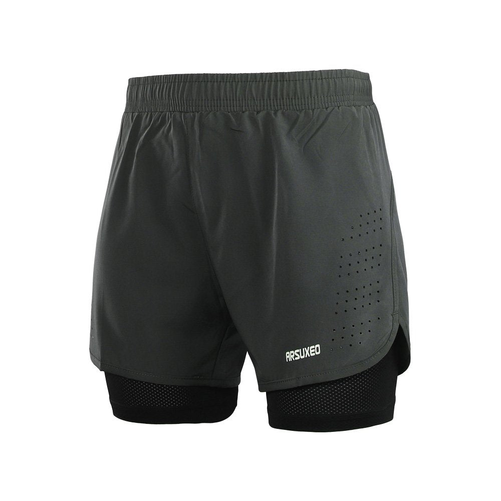 Men's Active Training Running Shorts 2 in 1