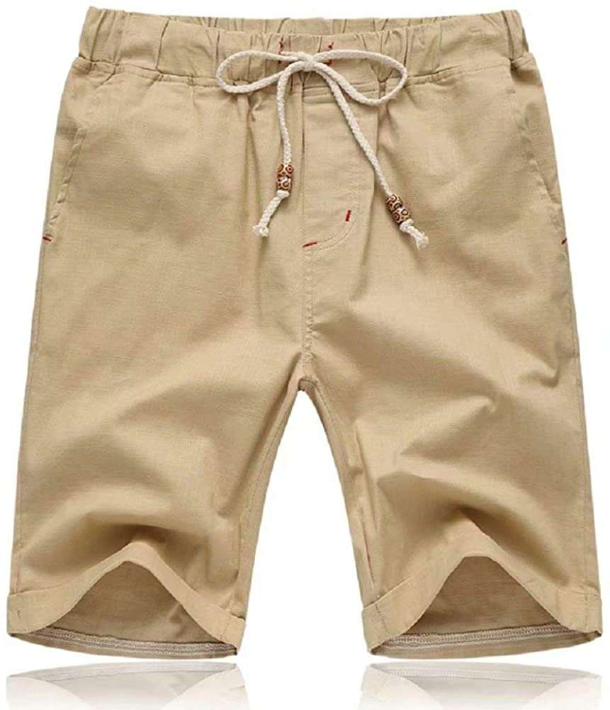 r Mens Shorts Casual Drawstring Summer Beach Shorts with Elastic Waist and Pockets